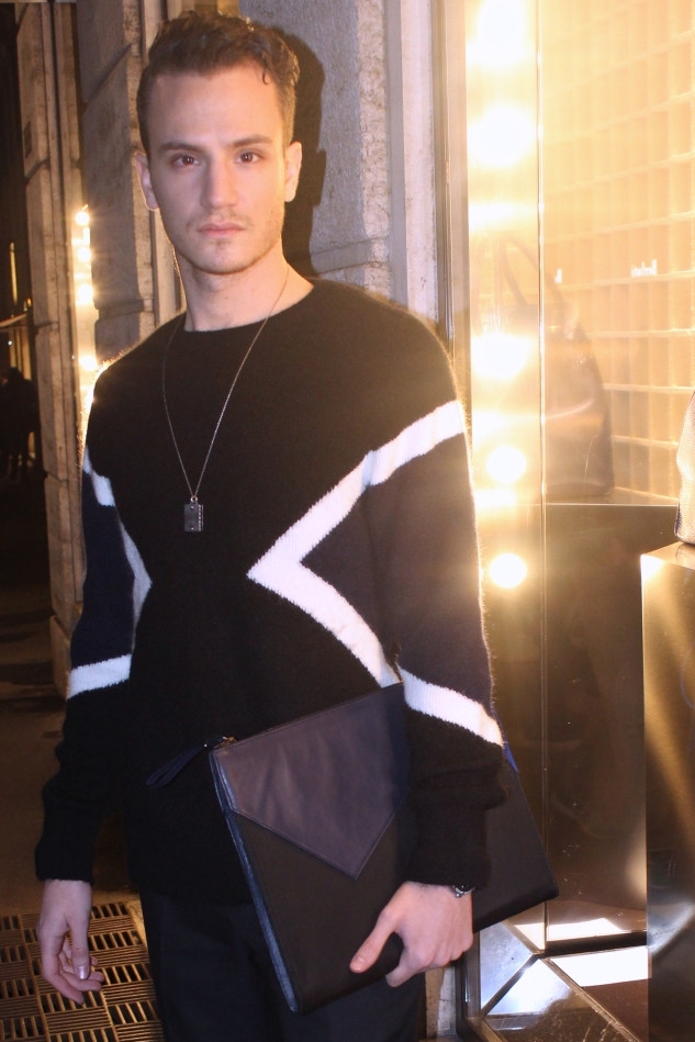 Neil Barrett fw13 modernist sweater and briefcase