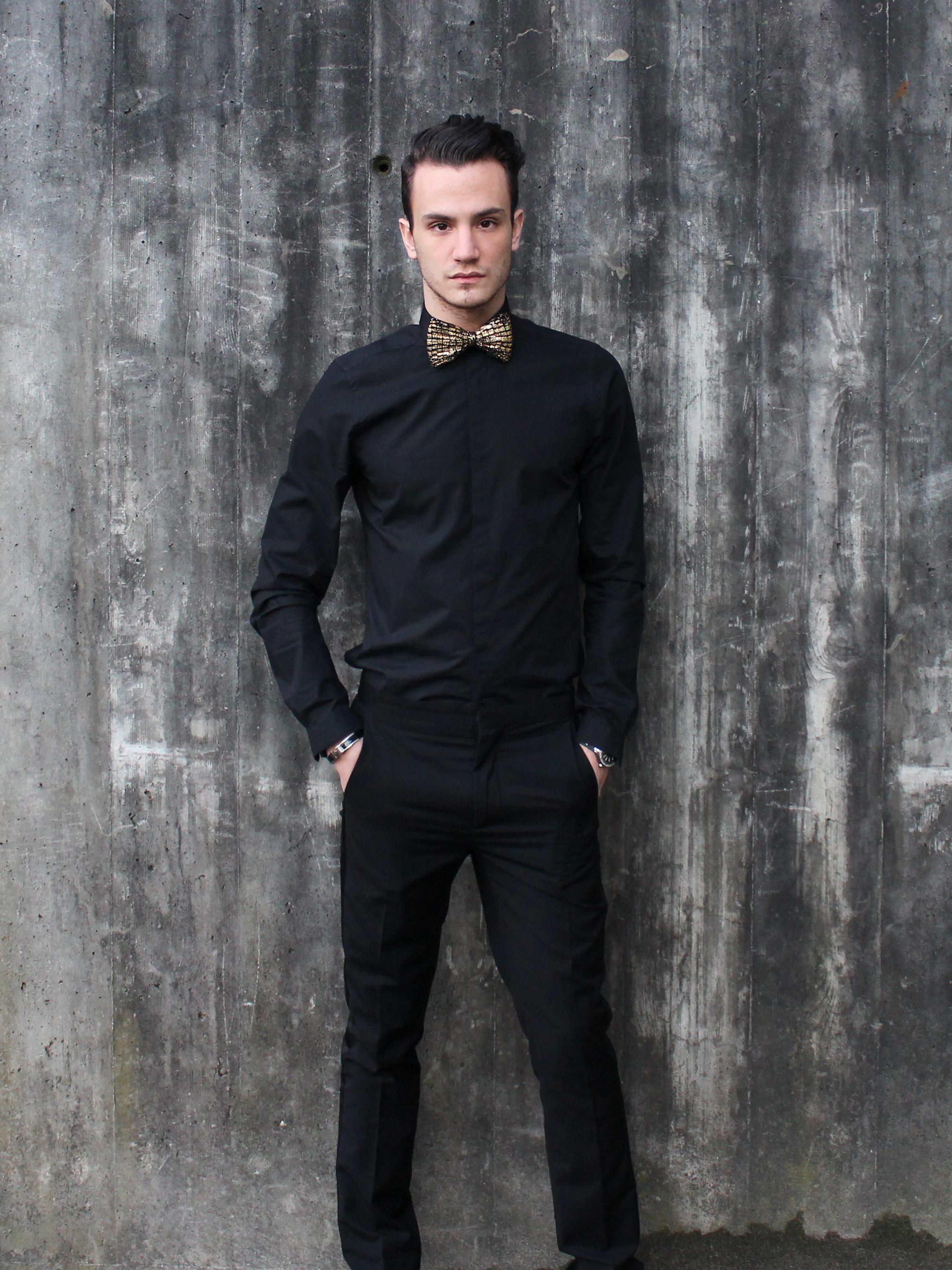 G o l d t o u ch i n f a s h i o n i t y for Black shirt black tie