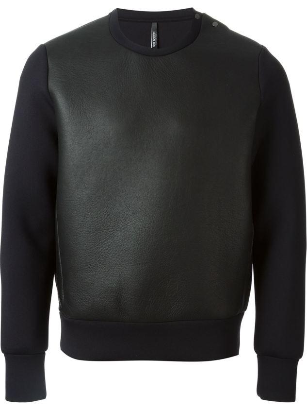 neil barrett leather sweater