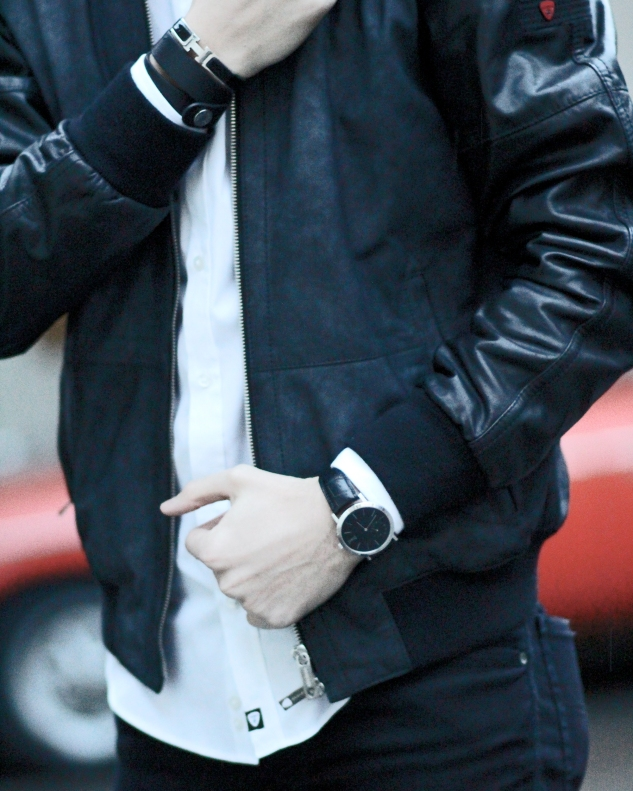 infashionity menswear swiss fashion blog strellson brand leather jacket piaget altiplano watch