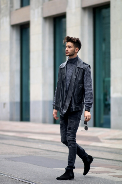 adrien guarino swiss model infashionity menswear platform fashion blog henri balit photography styling leather vest skinny jeans suede boots menswear look