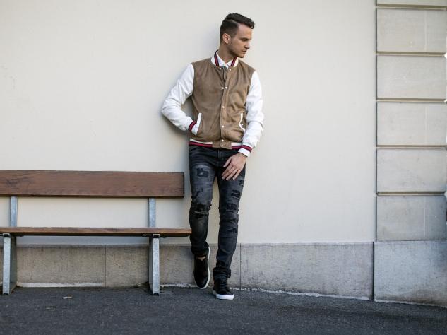 infashionity menswear fashion blog swiss henri balit photography styling varsity jacket distressed jeans