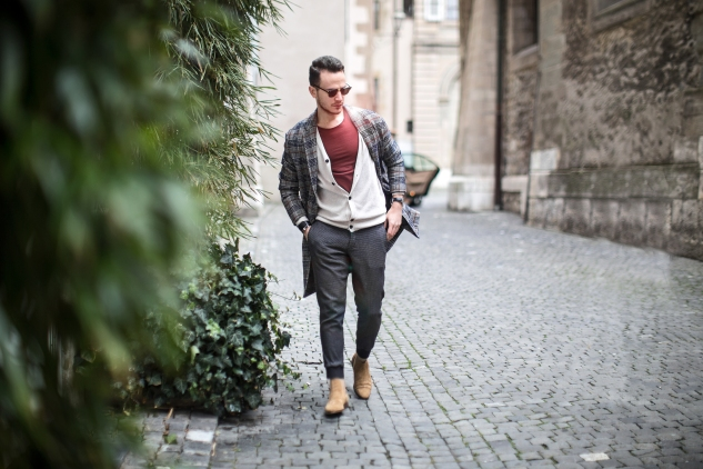 menswear fashion blog infashionity henri balit the chic man prince of wales check coat zara beige chelsea boots old town