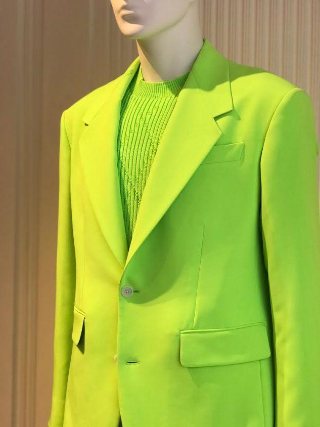 versace showroom milan ss19 neon suit